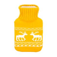 Deer hot water bottle in yellow