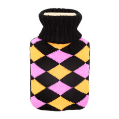Argyle hot water bottle in black, pink & yellow