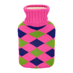 Argyle hot water bottle in pink, blue & green