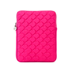 Love heart puff tablet case in neon pink