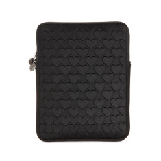 Love heart puff tablet case in black