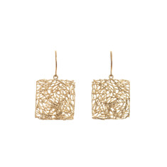 Square nest earrings in gold