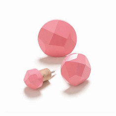 Geo wood display wall hooks in pink (pack of 3)