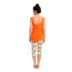 Watch your back scoop singlet in orange/grey