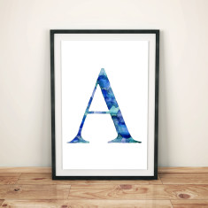 Monogram watercolour art print