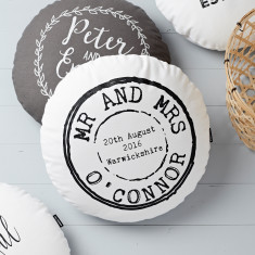 Personalised Round Wedding Stamp Cushion