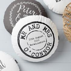 Personalised Round Wedding Stamp Cushion