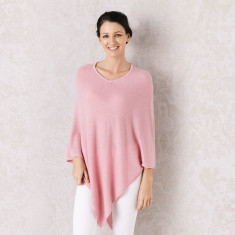 Cashmere Poncho in Rose