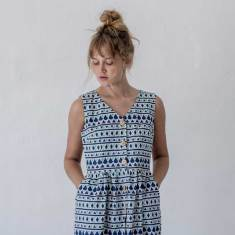 Frida Blue Linen Dress
