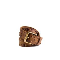 Weave leather belt in tan
