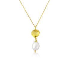 Samos Necklace with Gold Vermeil Disc and Drop Pearl