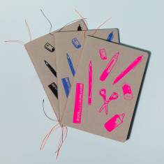 Hand Screen-Printed Stationery Notebook (Various Colours)