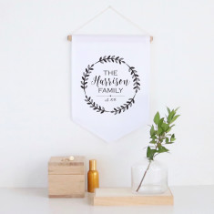 Family wreath personalised pennant wall banner