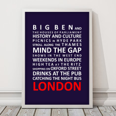 Life in London bus roll print