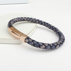Men's braided leather rose gold bracelet