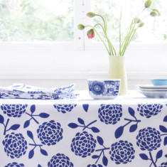 Oilcloth tablecloth - hydrangea navy