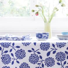 Oilcloth tablecloth - hydrangea navy