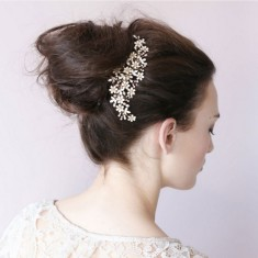 Flowers mix crystals hair comb
