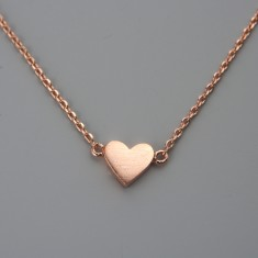 Tiny solid rose gold heart necklace