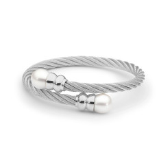 Sterling silver double white pearl steel bangle