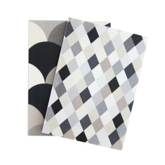Macaroons mono and argyle notebooks (set of two)