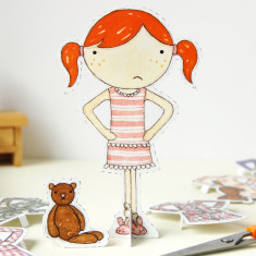 Clara Paper Doll With Bedtime Outfits