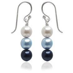 Neapolitan swarovski pearl earrings in blue