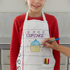 Doodle kids' apron with wash-out pens