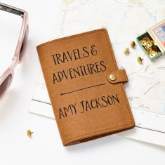 Travels And Adventures Recycled Leather Passport Cover
