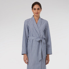 Blue Stripe cotton Dressing Gown