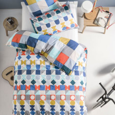 Domino blue quilt cover set