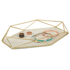 Umbra prisma jewellery tray in brass