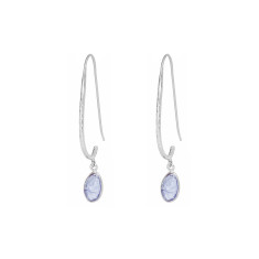 Pebble Hook Earrings With Tanzanite In Silver