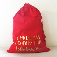 Personalised glitter Santa sack