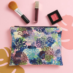 Flora velvet & gold leather pouch