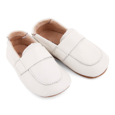 Pre-walker leather loafer shoes in white