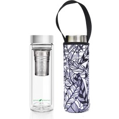 Glass is greener double walled tea flask 500ml with feather print carry cover