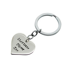 Personalised love heart sterling silver key chain