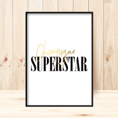 Champagne superstar faux gold art print