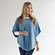 Reversible cotton cashmere poncho in clean denim & duck egg