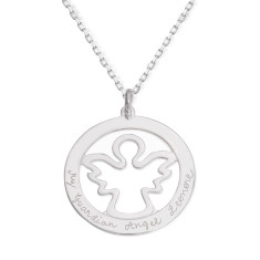 Personalised Large Angel Necklace
