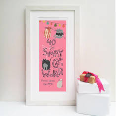 Cats whiskers personalised 40th print