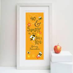 Bees knees personalised 40th print