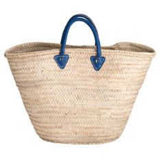 Large basket with royal blue leather handles