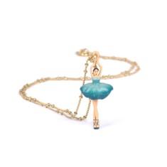 Petrol blue ballerina necklace