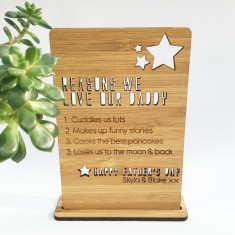 Father's Day personalised plaque and stand