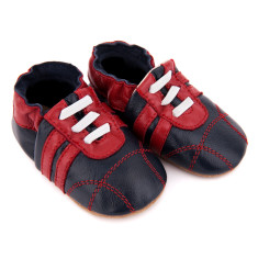 Pre-walker leather sneakers in navy and red