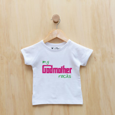 Personalised My godmother rocks t-shirt (blue or pink)