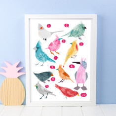 Ten Birds Counting Print