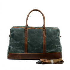 Canvas Travel Waterproof Bag With Leather Handle in Green